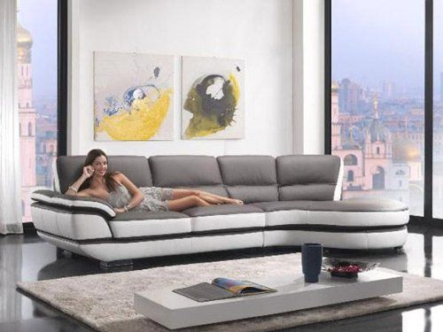 K8456 Grey and White Leatherette Living Room Sectional Sofa