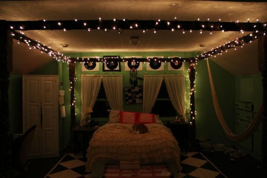 How To Hang String Lights From Ceiling Extraordinary Bedroom Decor With Lights Decorative String Lights For Bedroom Design Ideas
