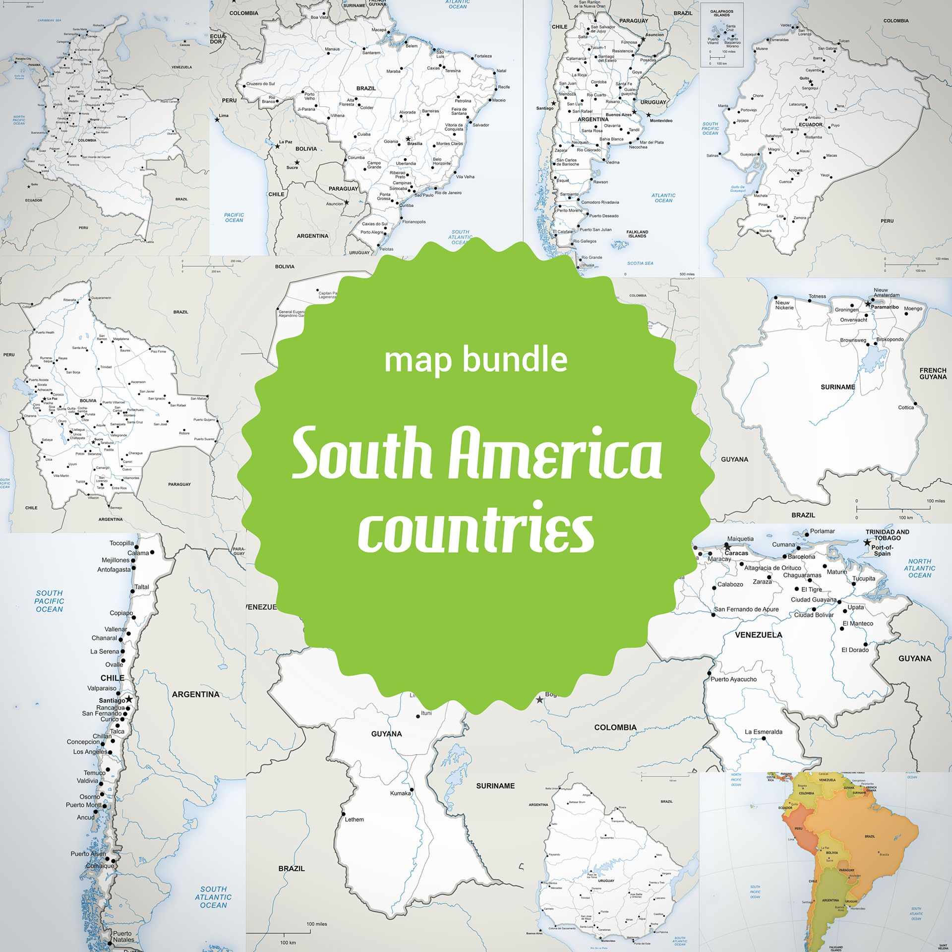 Buy 13 Vector Maps South America Countries: Sale 70% Off | Printable ...