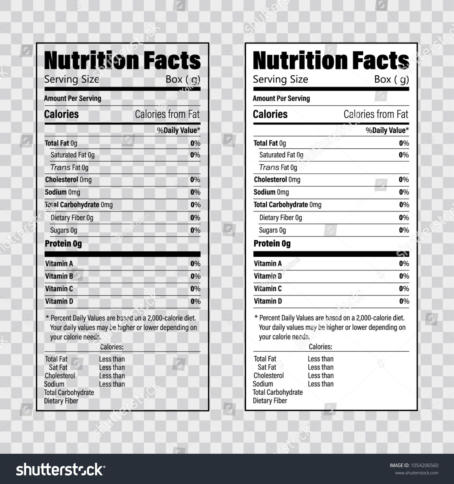 Nutrition Facts Information Label Template Daily Value