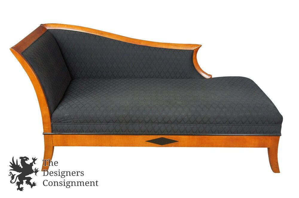 Art Deco Biedermeier Style Maple Chaise Lounge By National