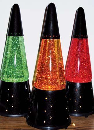 A Trio Of Wizard Glitter Lamps With Custom Green Orange Glitter Globes Glitter Lamp Cool Lava Lamps Lamp