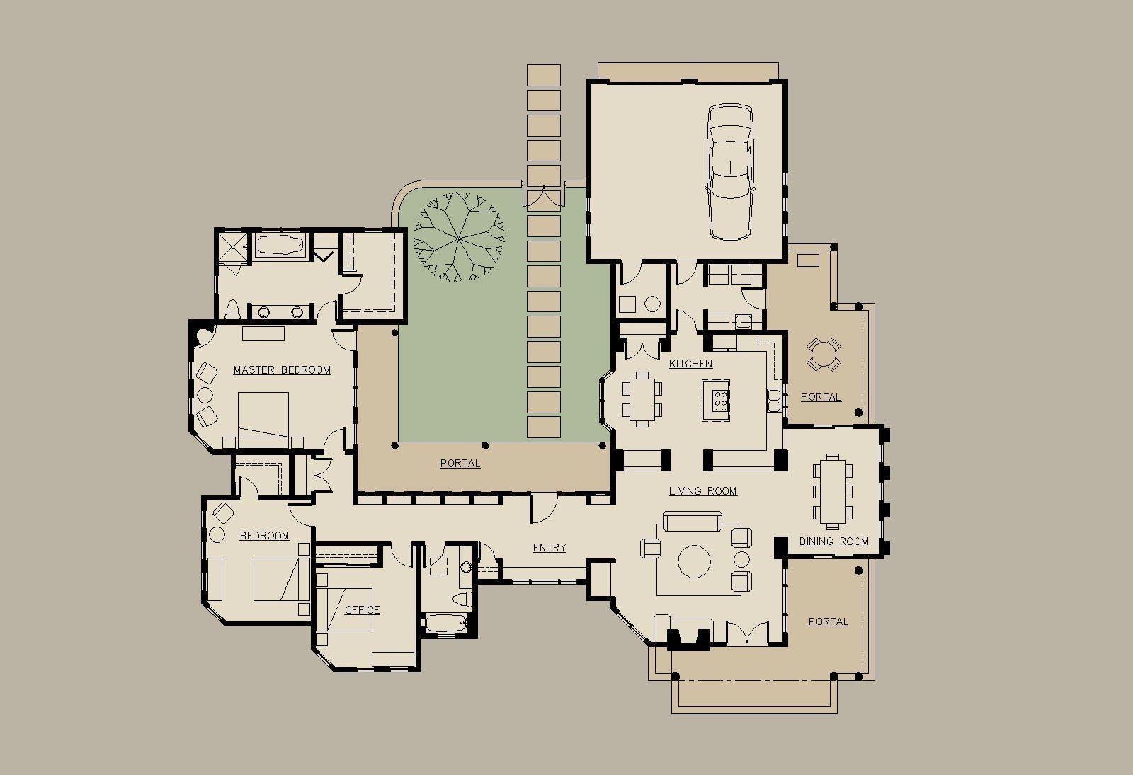 U Shaped House Floor Plans With Courtyard Courtyard House Plans House Plans One Story Mediterranean House Plans