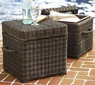 Torrey All Weather Wicker Accent Cube Espresso At Pottery