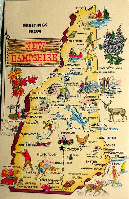 Greetings From New Hampshire Map Postcard Hampshire Road Trips