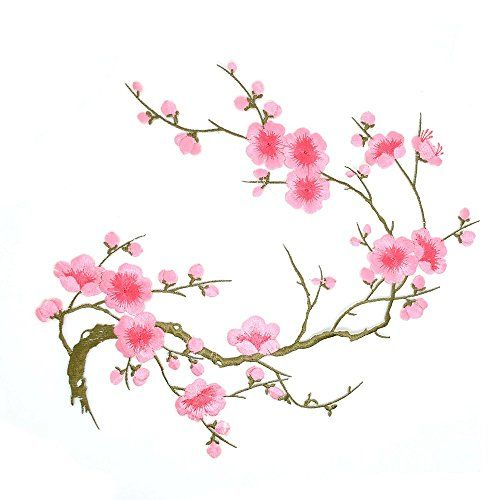 Iron on Large Cherry Blossom Branch Applique Patch