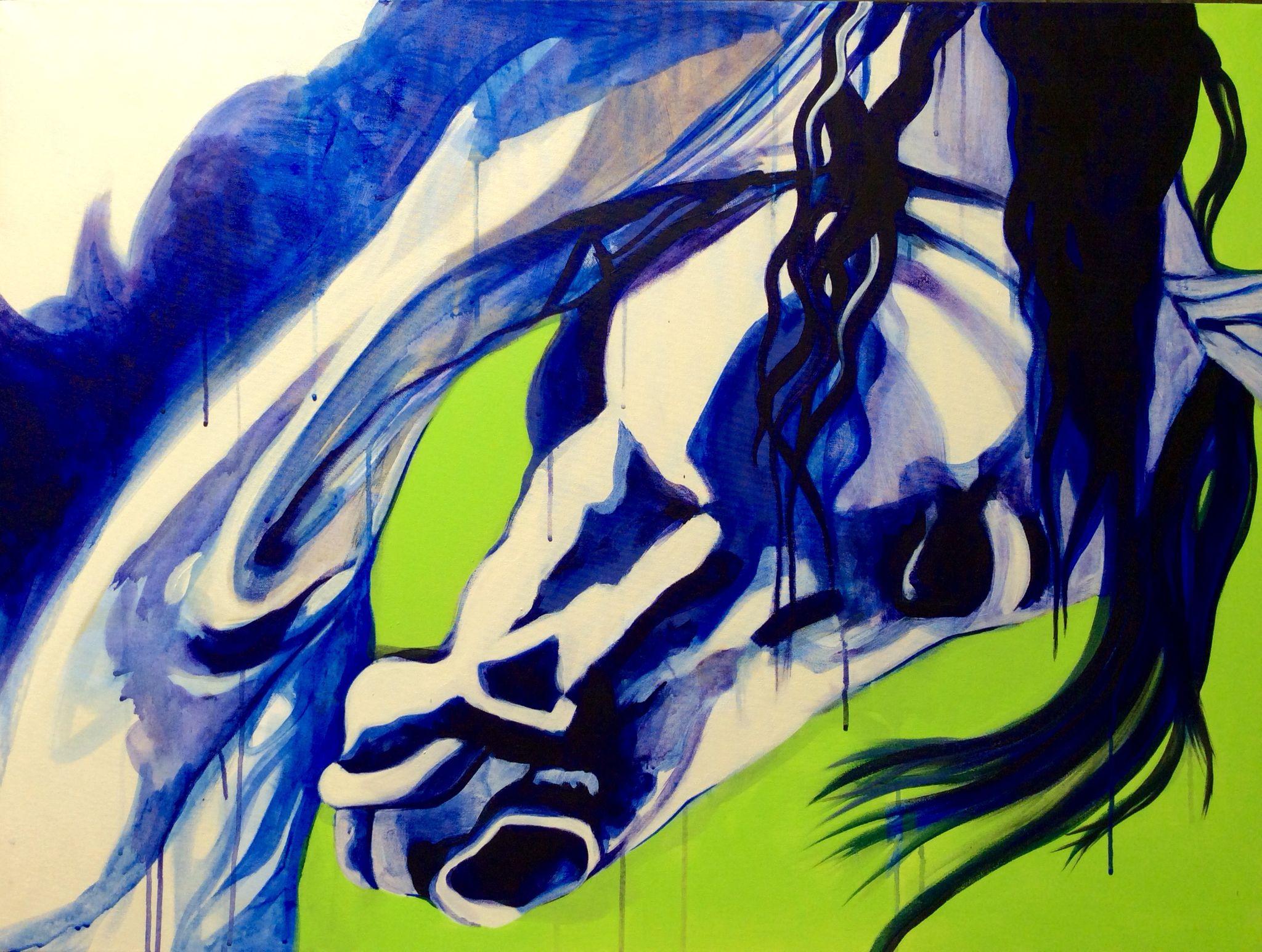 Aheyme, Arabian stallion. Acrylic on canvas