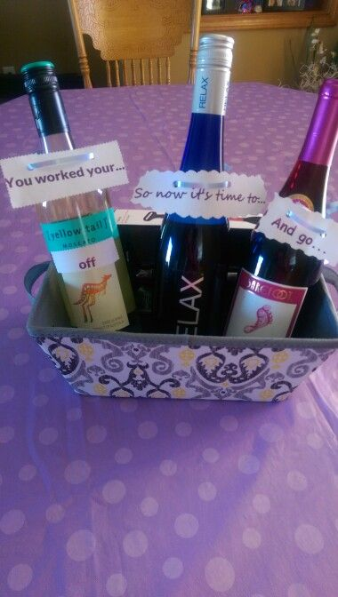 The perfect retirement gift basket.   Wine Gift Ideas ...