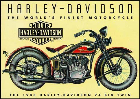 MAGNET HARLEY-DAVIDSON PIN-UP A MOTO 8 X 6cm