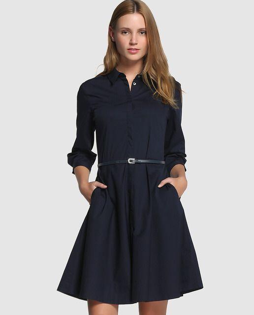 d79a51e8d50 Vestido camisero de mujer Tommy Hilfiger en azul marino