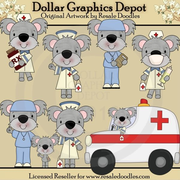 Koala Medics 1 00 Dollar Graphics Depot Your Dollar Graphic Store Digi Stamps Koala Clip Art