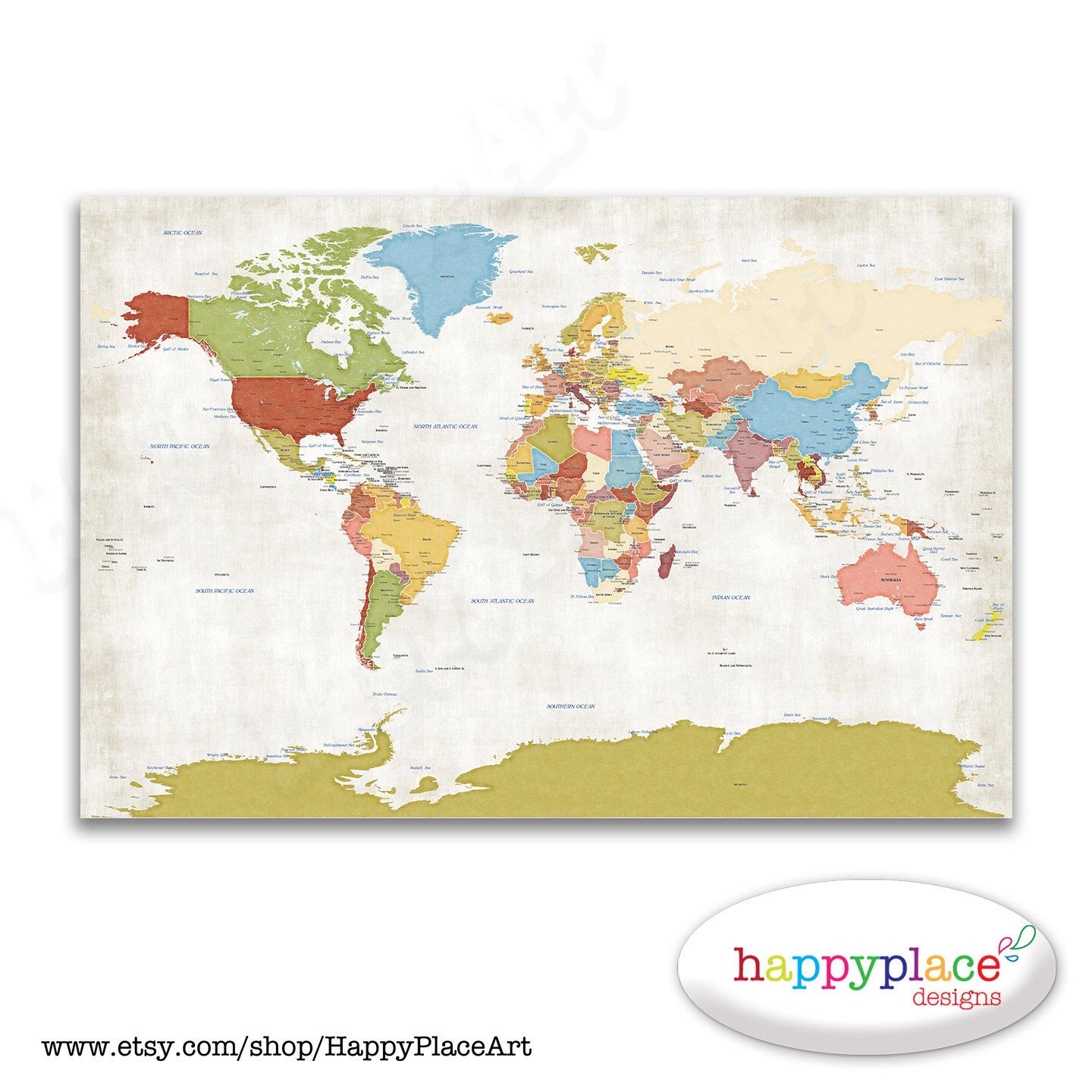 Large political map detailed map vintage world map with labels large political vintage style world map with printed texture country borders and capital cities gumiabroncs Image collections