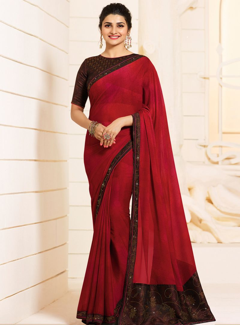 a8297492643 Buy Prachi Desai Red Georgette Saree With Blouse 143091 with blouse online  at lowest price from vast collection of sarees at Indianclothstore.com.
