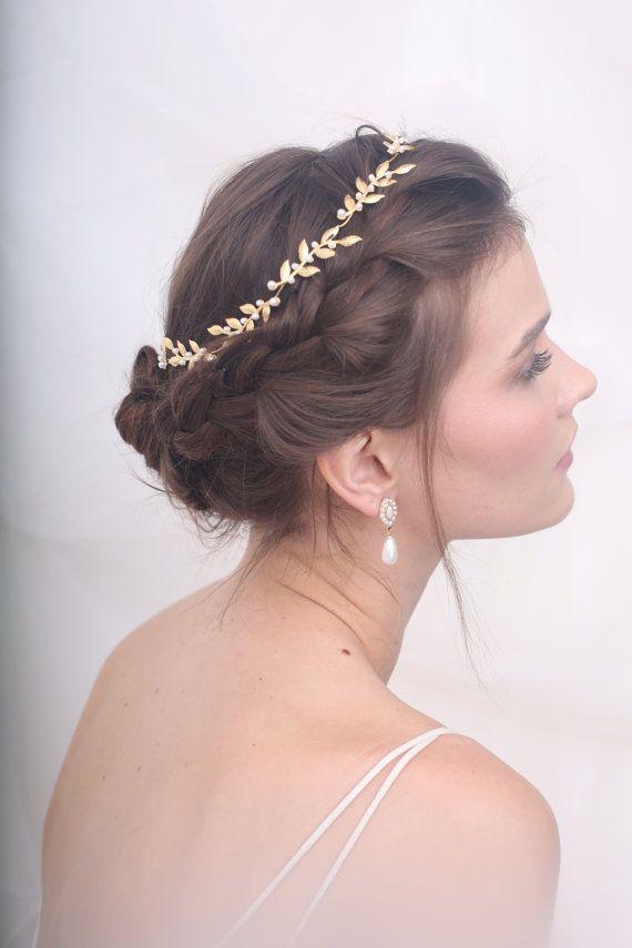 Wedding tiara, Bridal headpiece, gold leaf headpiece, Wedding headpieces, Hair accessories #bridalheadpieces