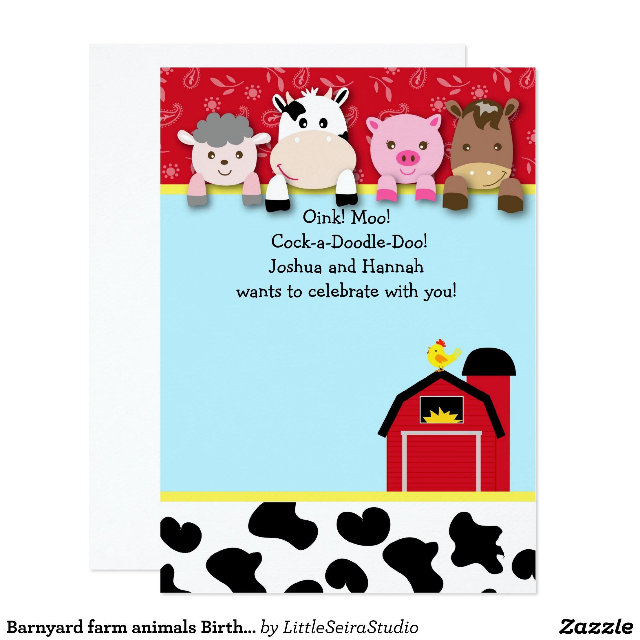 Barnyard farm animals Birthday Party invitations | Animal birthday ...