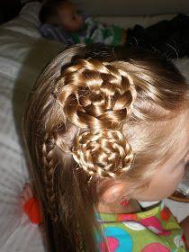Girl Hairdos & Ideas: my last variation on the rolled braided flower