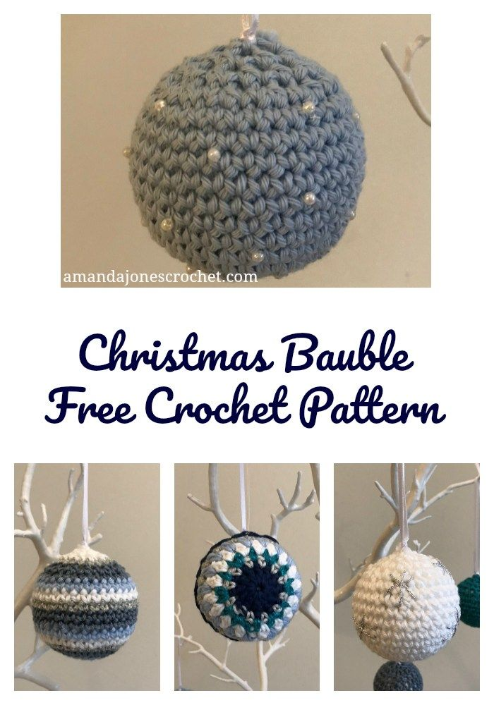 Blue Bauble Pin | moldesCostura | Pinterest | Ganchillo, Navidad y ...