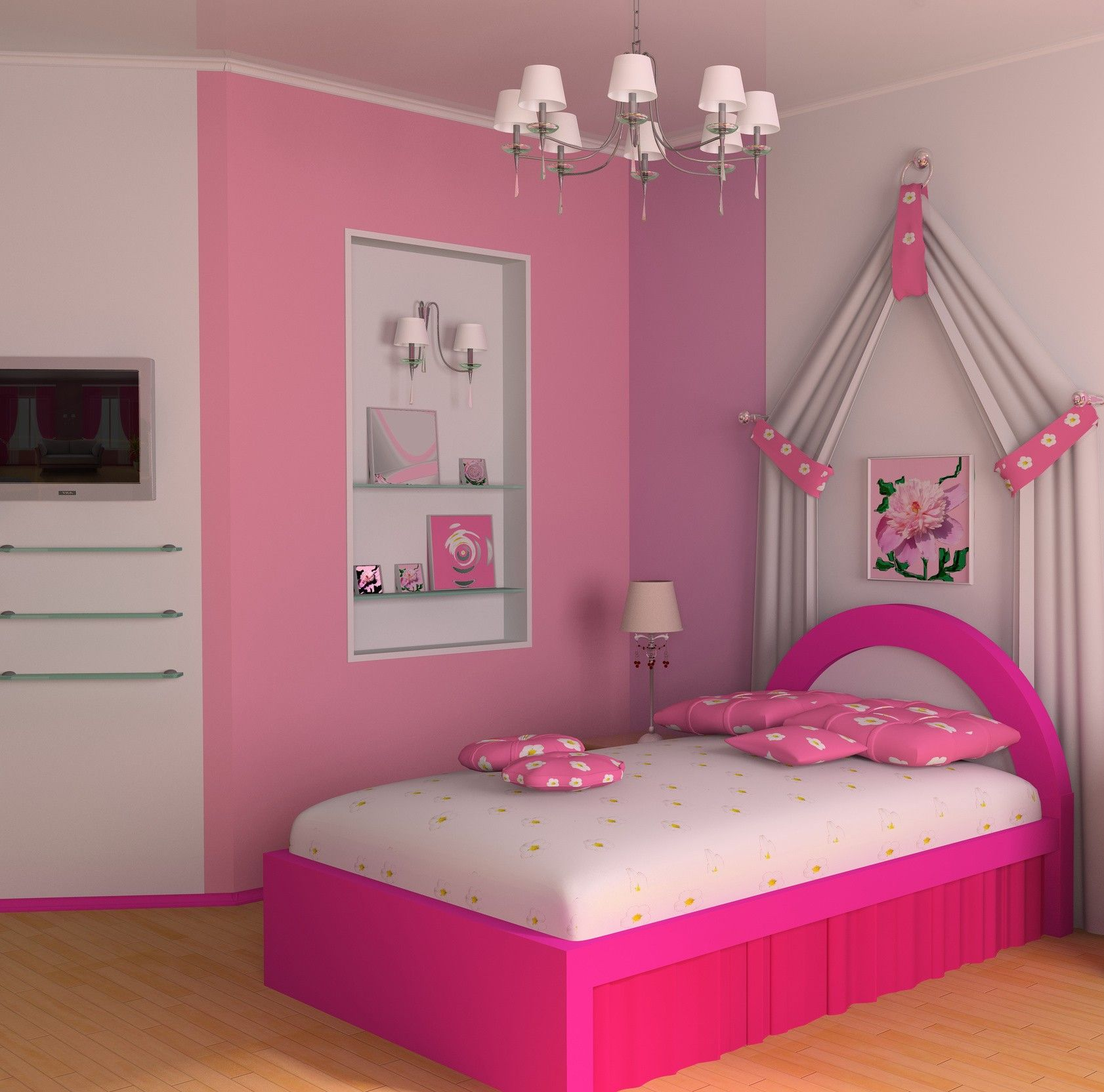 pretty small bedroom idea for teen girls with chic white floral bedding and pink bed frame - Beautiful Bedroom Ideas For Small Rooms