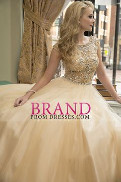 2015 Scoop A-Line Prom Dress Floor-Length Full Beaded Bodice Champagne Tulle USD 199.99 BPPY7LM51T - BrandPromDresses.com
