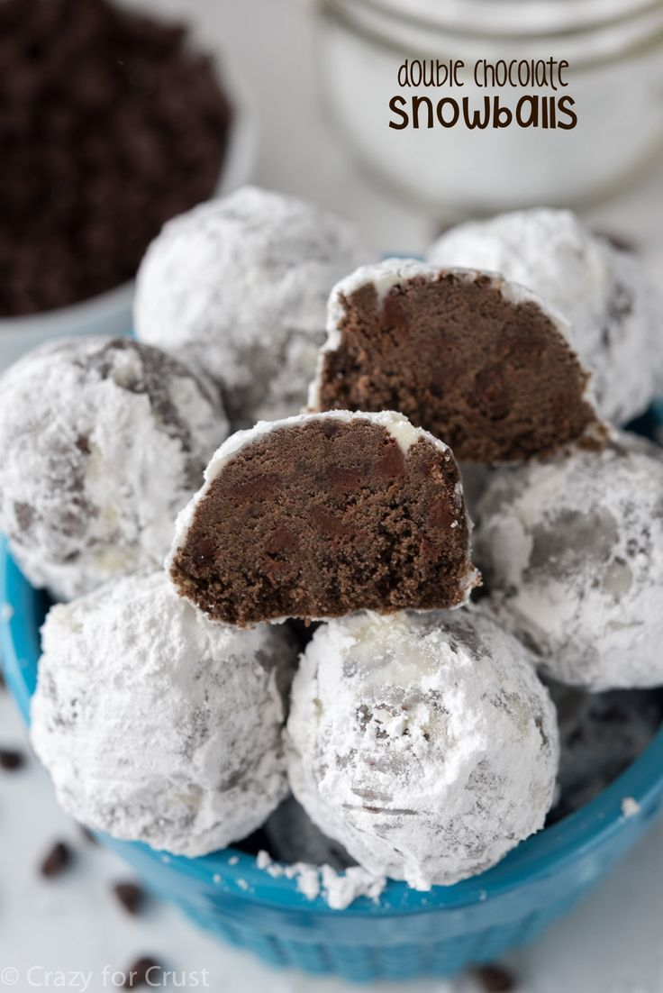 Double Chocolate Snowball Cookies - Crazy for Crus
