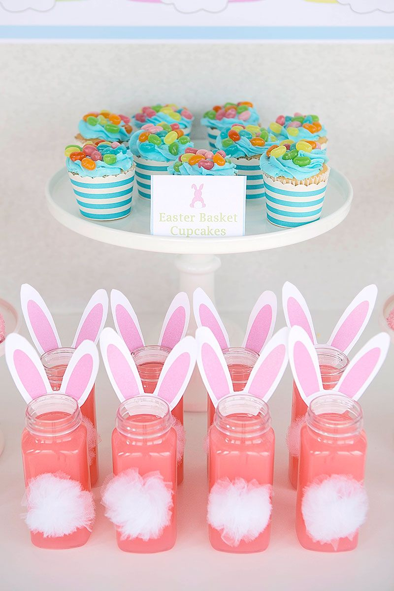Easter drink ideas - bunny tail drinks with FREE Printable bunny ears