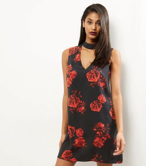 fc8ae64a2500 Black Rose Print Choker Neck Dress | Clothes | Choker neck dress ...