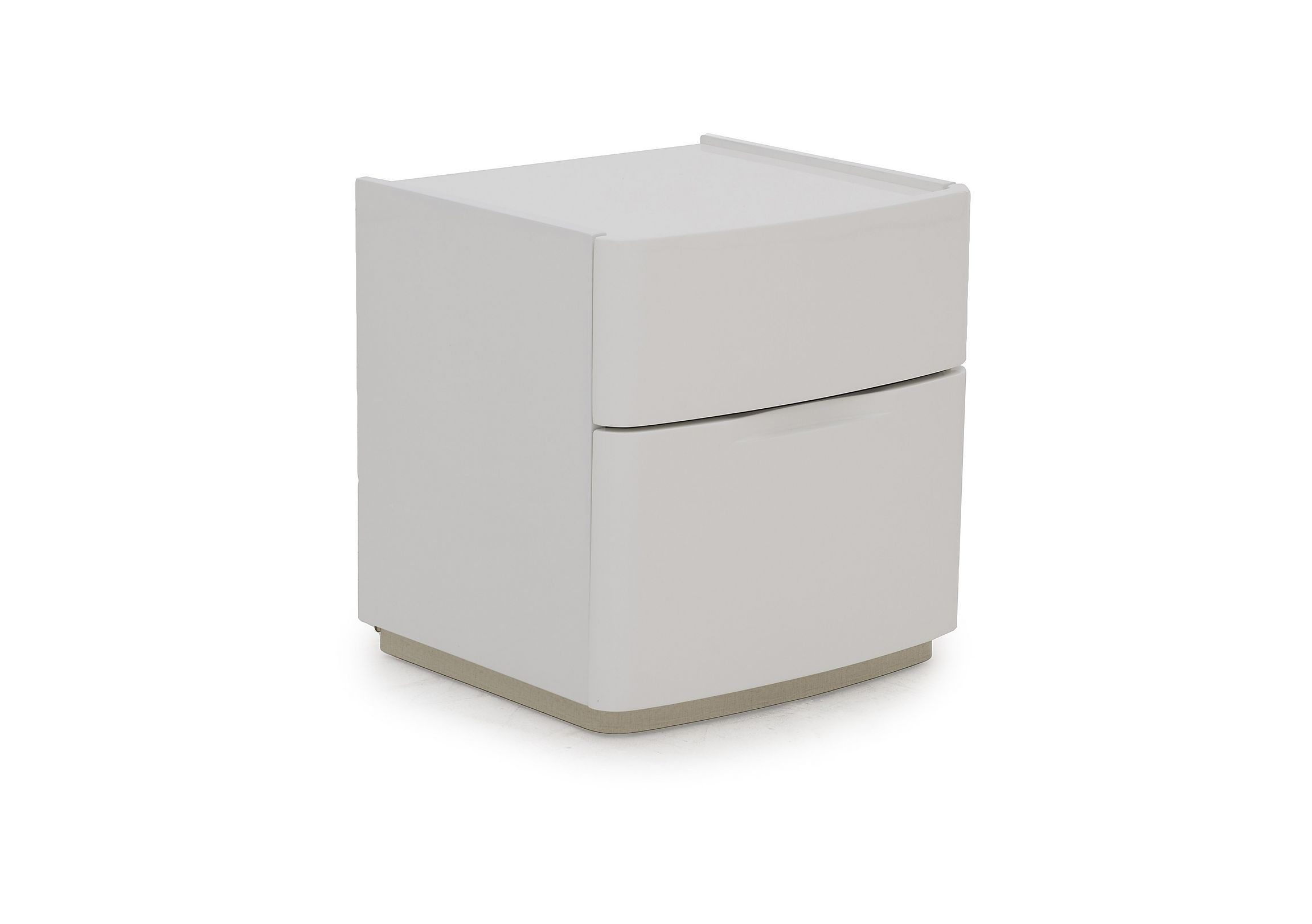 229 Wide 46cm White High Gloss Two Drawer Bedside Chest Or Bedside Table With A Luxurious Lacquered Finish Curved Corne Bedside Chest Bedside Storage Storage