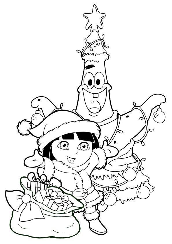 Coloriage Noel Dora Coloriage Noel Coloriage Dora Et Coloriage