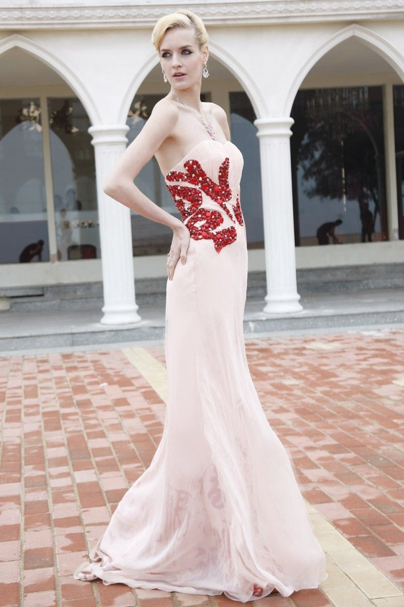 Pink with red beadingtrain prom dress prom ball gown dress