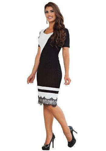 1218c787df vestido justo tubinho preto e branco barra rendada recortes diagonais e  horizontais kauly frente