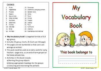 My Vocabulary Book Vocabulary Books Kindergarten Activities