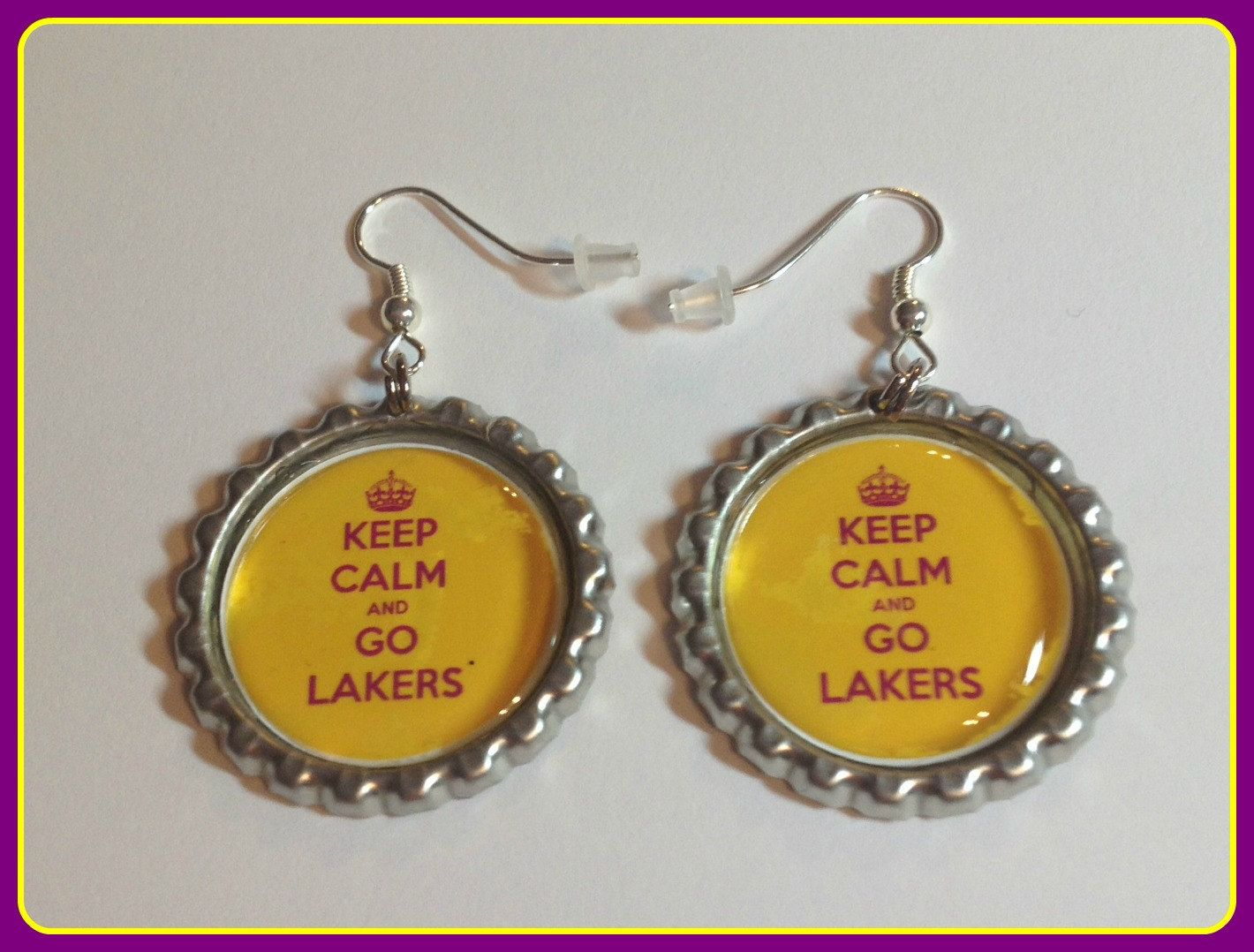 LA Lakers Earrings Keep Calm Lakers Custom Made Sports & Themed Jewelry nba nfl ncaa mlb nhl nba nsl Earring,Keychain,Charm Bracelet by SportsnBabyCouture on Etsy