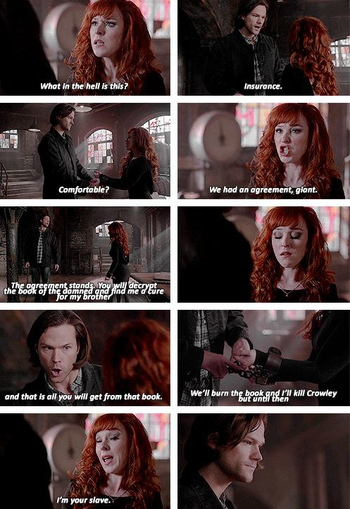 [gifset] 10x19 The Werther Project #SPN #Sam #Rowena Fun fact: Ruth ad-libbed the giant line ;)