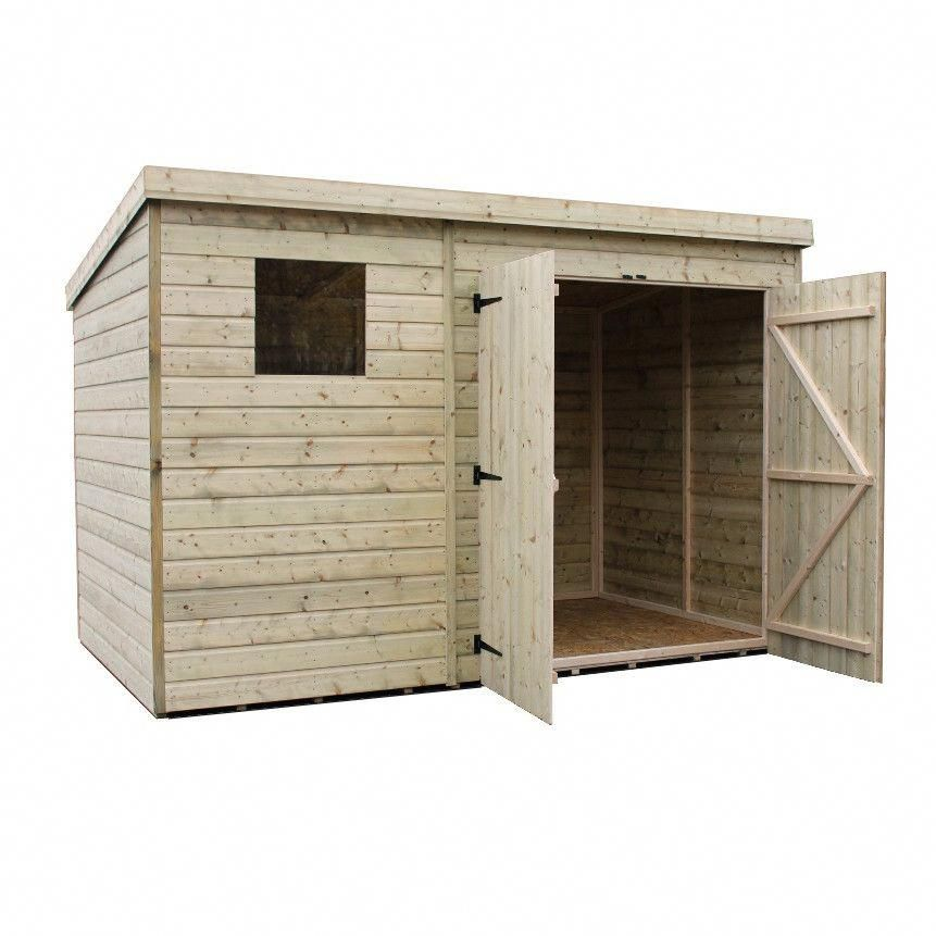 10 Ft. W X 6 Ft. D Shiplap Pent Wooden Shed In 2020