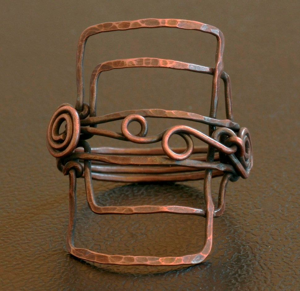 Geometric ring copper wire wrapped by Isuize | Wirework Inspirations ...