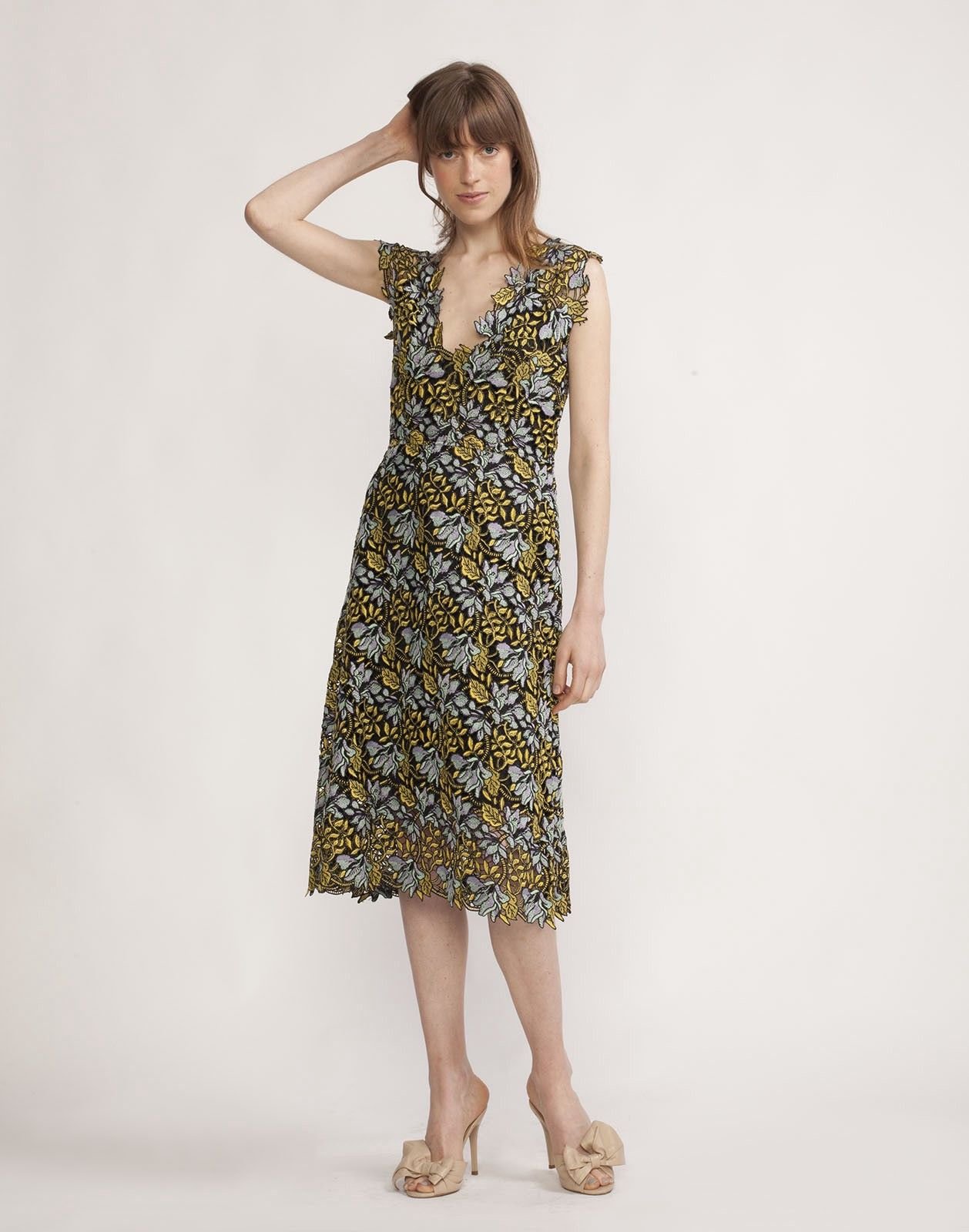 efc99c0d1c CYNTHIA ROWLEY Floral Lace Midi V-Neck Dress. #cynthiarowley #cloth ...