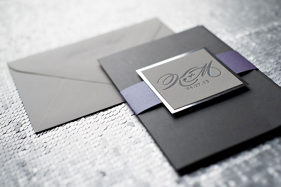 Justinviteme Silver And Purple Wedding Invitations Mirror Paper Custom Letterpress