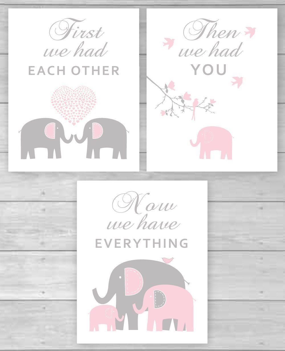 Elephant nursery wall art print mom baby dad by rizzleandrugee - Pink And Gray Elephant Canvas Wall Art Baby Girl Nursery Art Be Sure To Check Out This Awesome Product