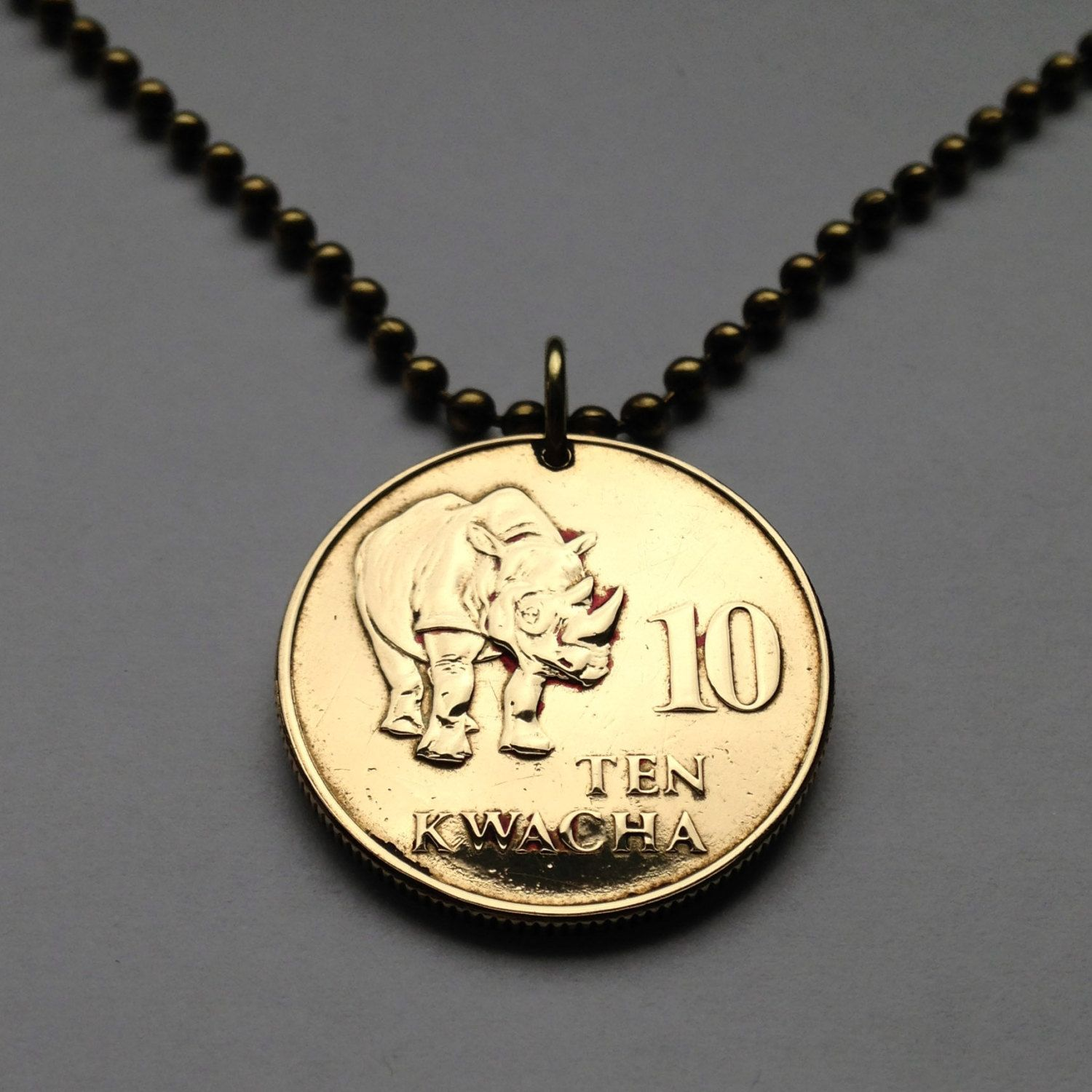 1992 Zambia 10 Kwacha Coin Pendant Necklace Charm Jewelry African Africa Animal Hippo Endangered Black Rhinoceros Rh Coin Pendant Necklace Coin Pendant Jewelry