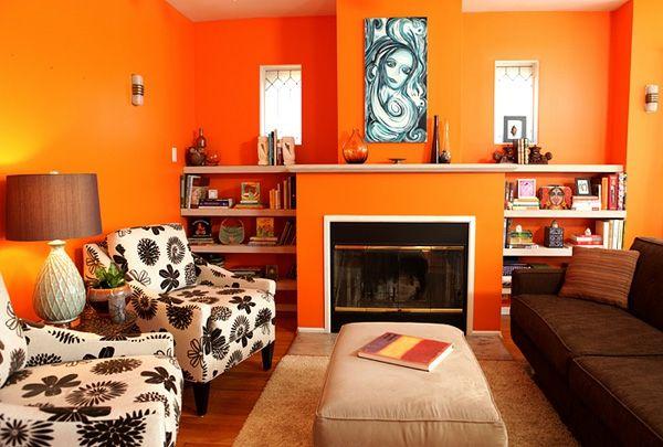 wohnzimmer wandgestaltung ideen sessel farbe orange | wohnzimmer ... - Wohnzimmer Farbe Orange