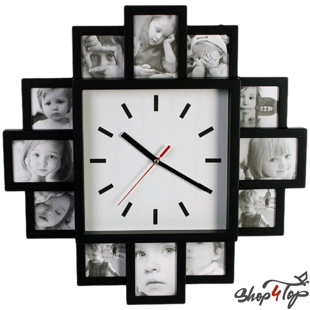 Wall clock 12 photo picture frame black large modern home novelty wall clock 12 photo picture frame black large modern home novelty original gifts jeuxipadfo Image collections
