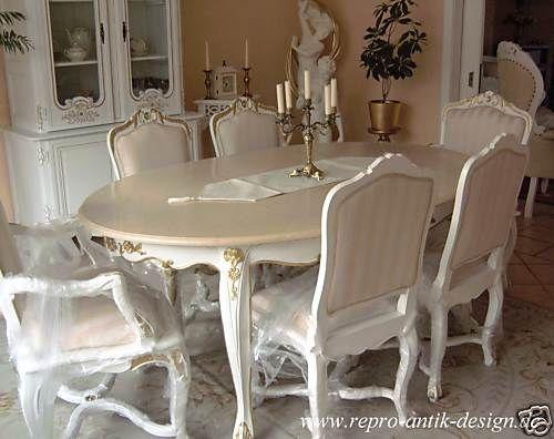Barockesszimmer Stuhl Tisch Rokoko Weiß Louis XV Barock Esszimmer Antik Neu