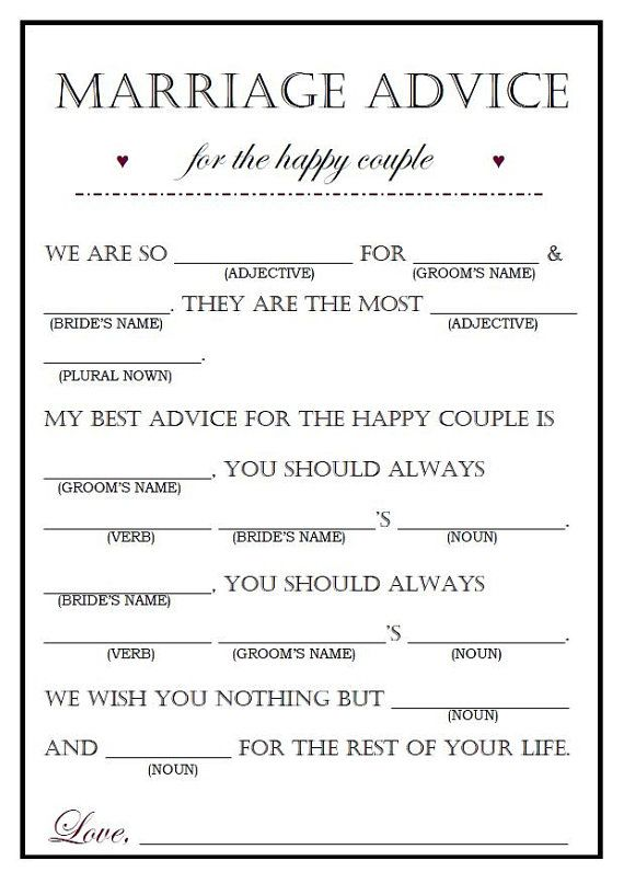 Editable Wedding Madlib Funny Wedding Guestbook Wedding Etsy Wedding Mad Libs Wedding Advice Wedding Gifts For Guests