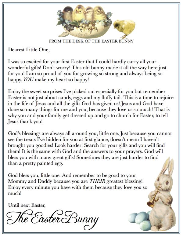 Versatile image in letter from easter bunny printable