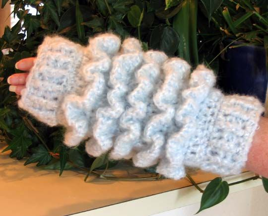 Free Crochet Ruffled Muff Pattern.   Free Crochet Wrist Warmers ...
