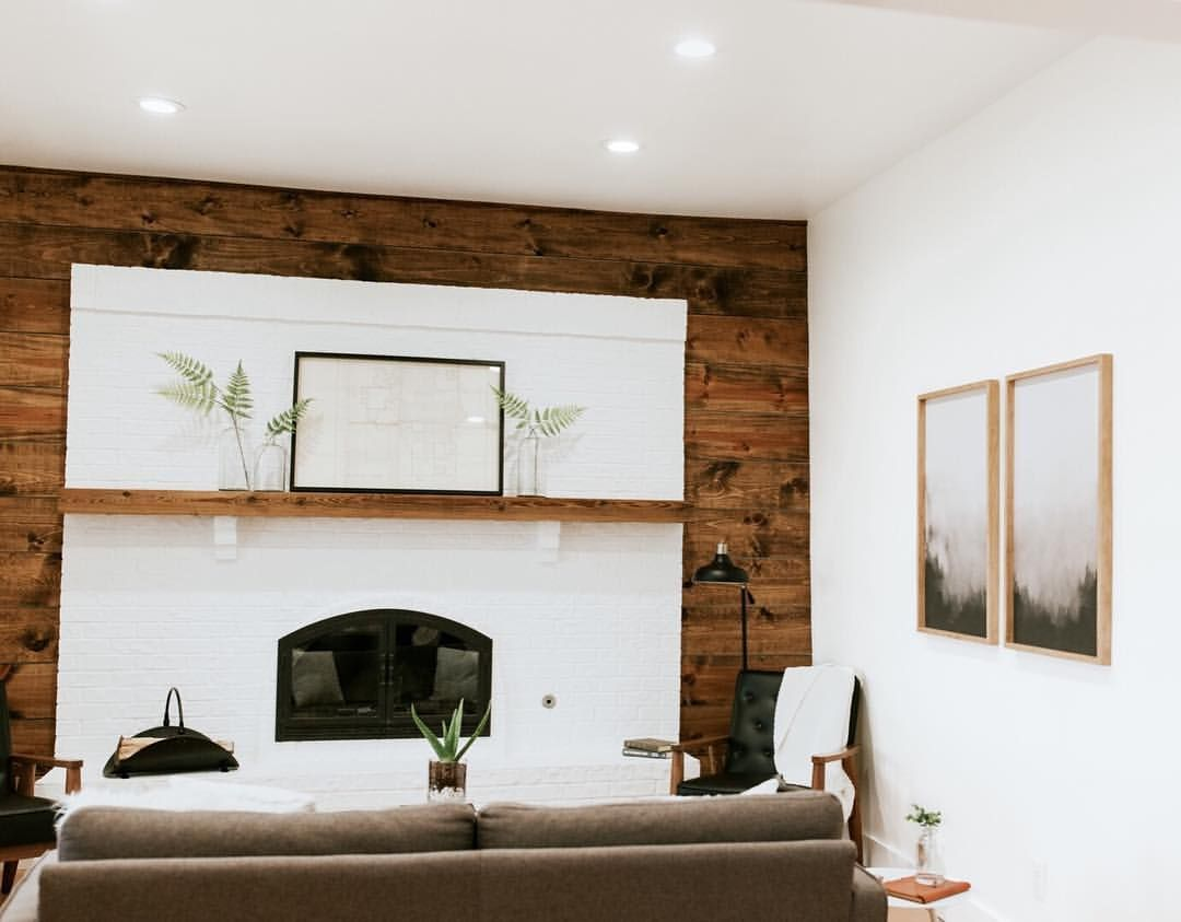 Mid Century Modern Living Room With Shiplap Walls Painted White Brick Fireplace White Walls And Mod Living Room Reveal Brick Fireplace Makeover Rooms Reveal #shiplap #walls #in #living #room