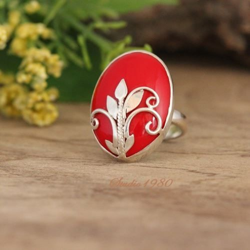 Red Coral Ring, Designer jewelry, Sterling silver ring $155.00