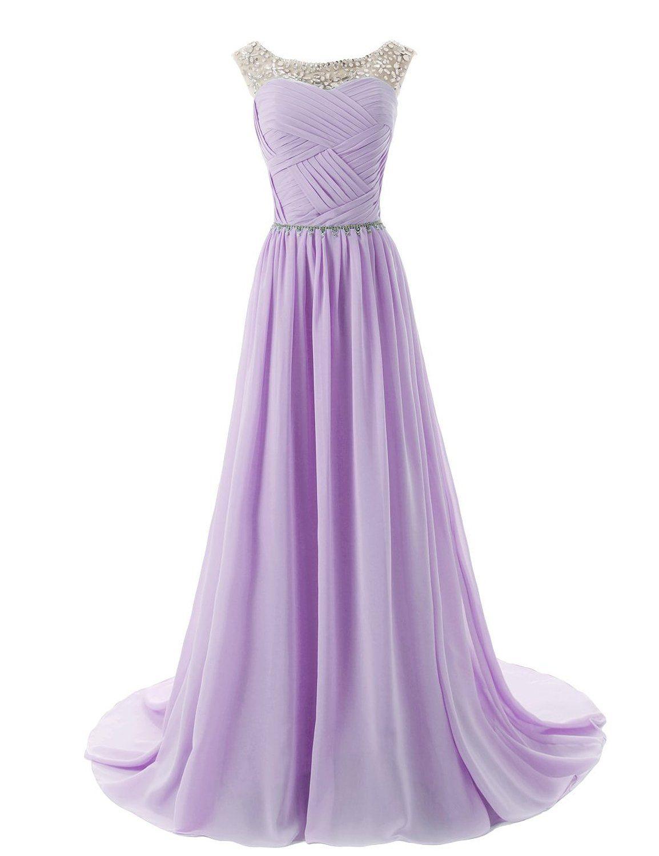 Dressystar chiffon beads bridesmaid dresses long prom dress evening