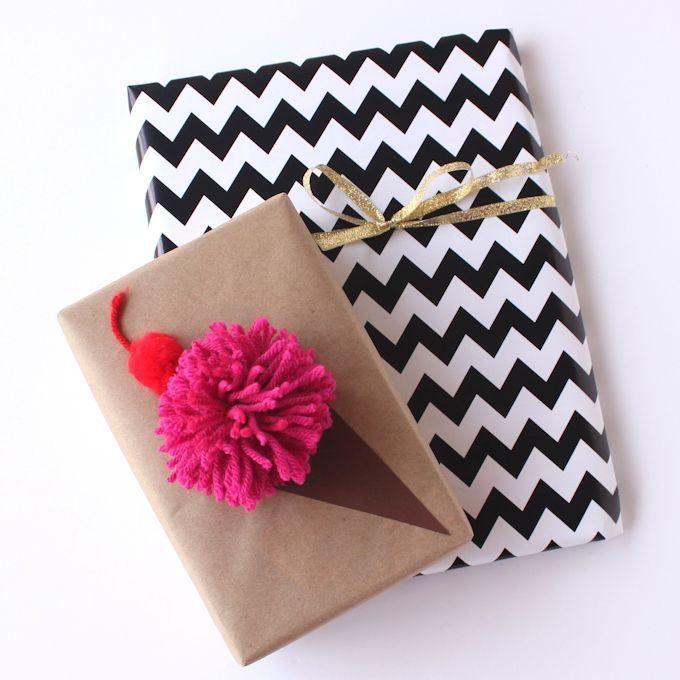 ice cream pom pom gift wrapping