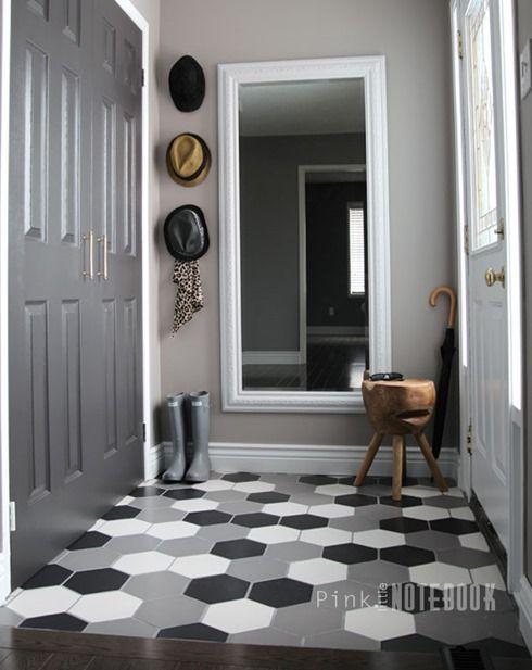 Grand Foyer Et Petit Foyer : Front foyer before after hexagones petite entrée et
